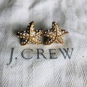J. Crew Gold, CZ starfish earrings w Pouch